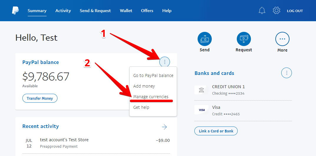PayPal manage currencies balance summary