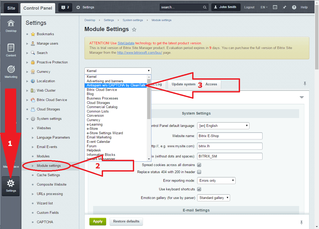 Bitrix anti-spam plugin settings