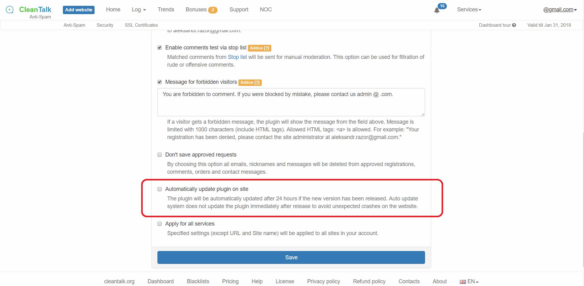 Auto update anti-spam option
