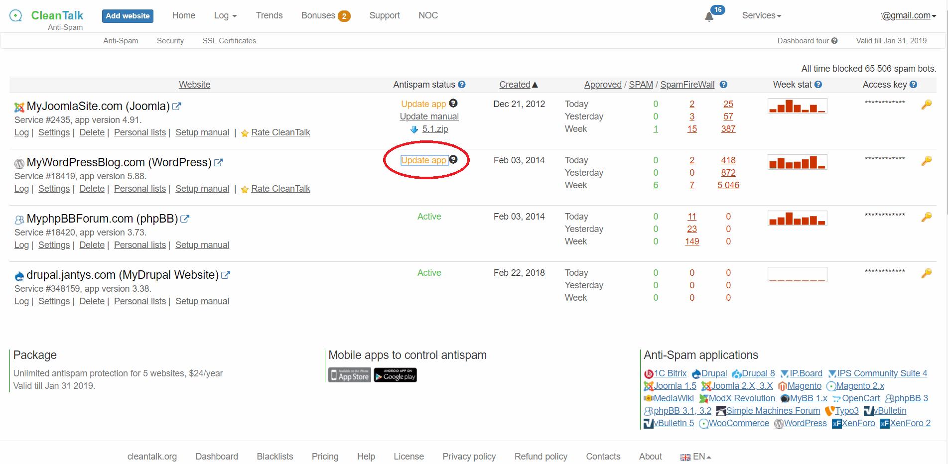 Update anti-spam from DashboardCleanTalk