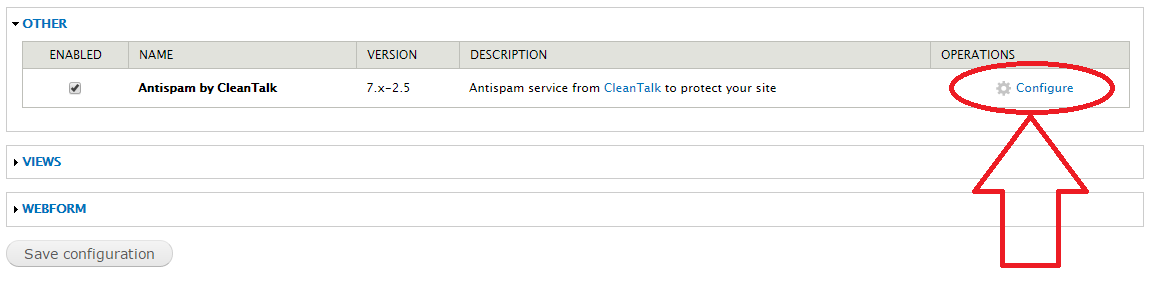 Dupal 7 anti-spam module configure
