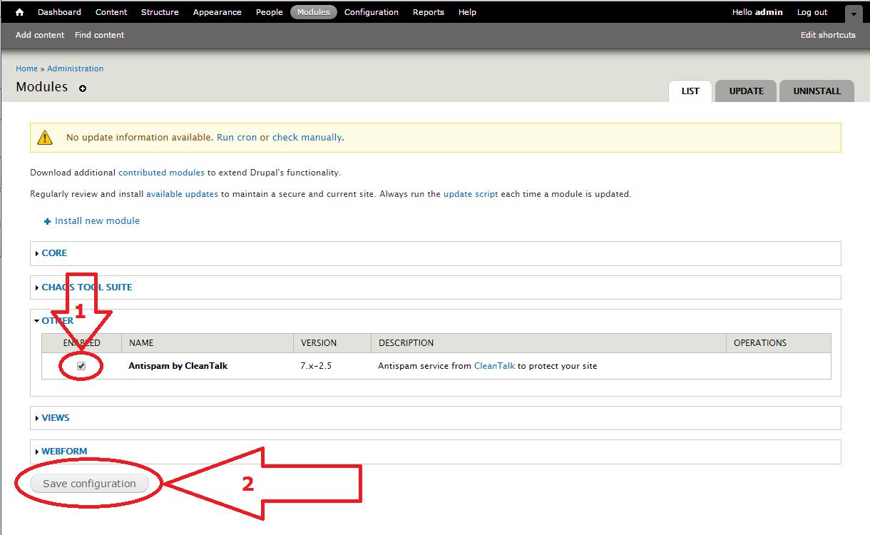 Dupal 7 anti-spam module enable