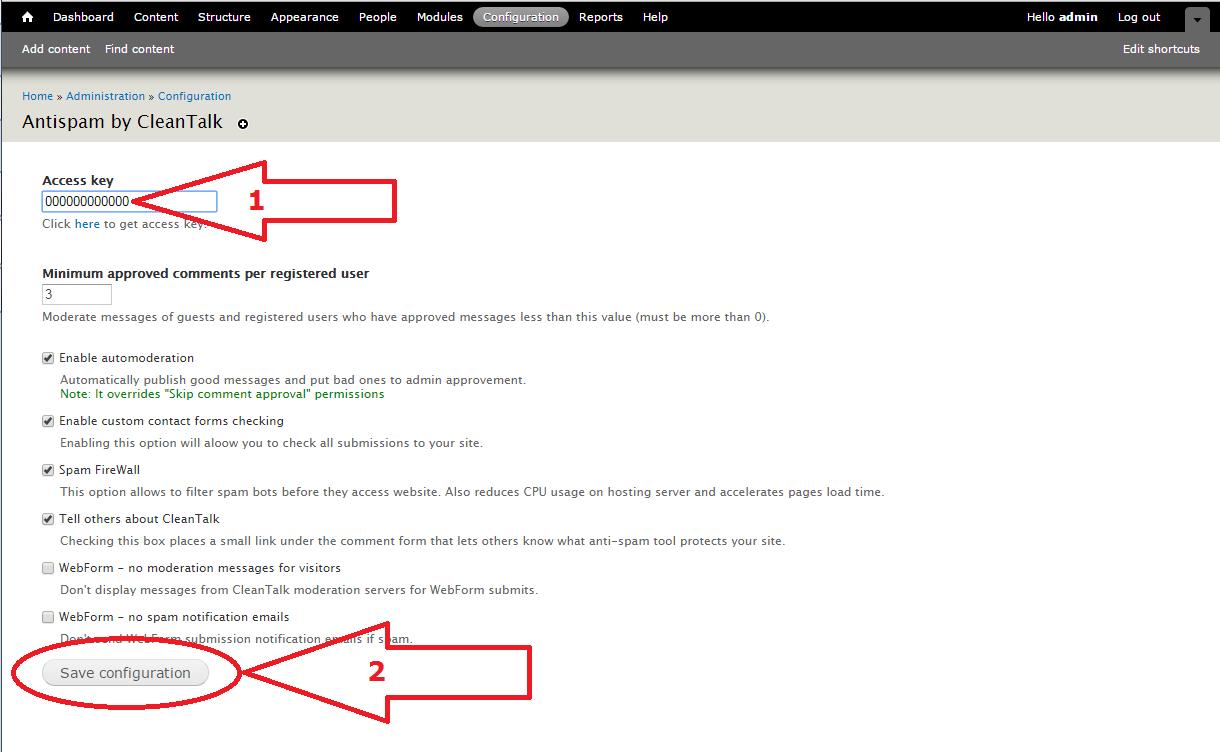Drupal 7 anti-spam plugin options
