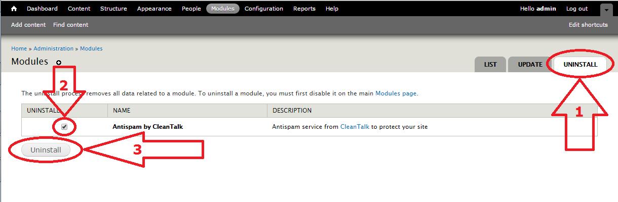 Dupal 7 anti-spam module uninstall