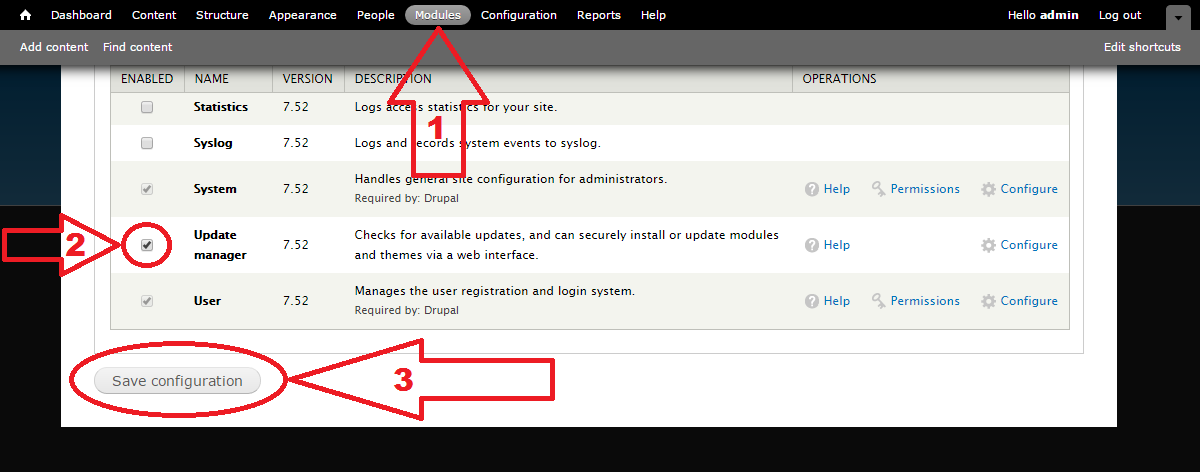 Drupal 7 Update Manager install