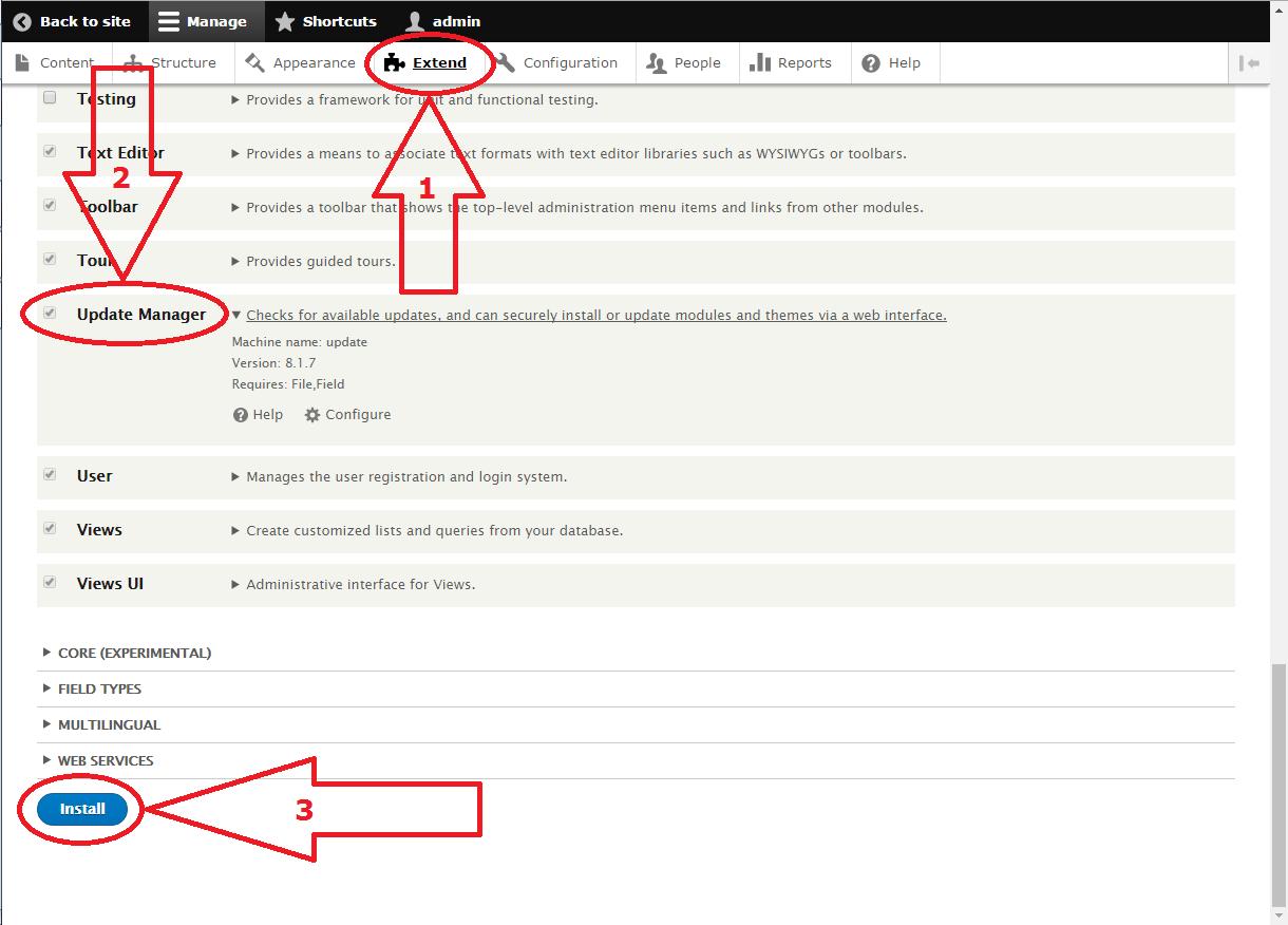 Drupal 8 Update Manager install