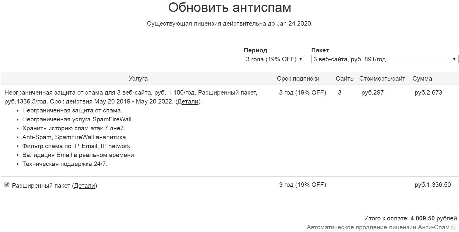 Страница оплаты Анти-Спам от CleanTalk