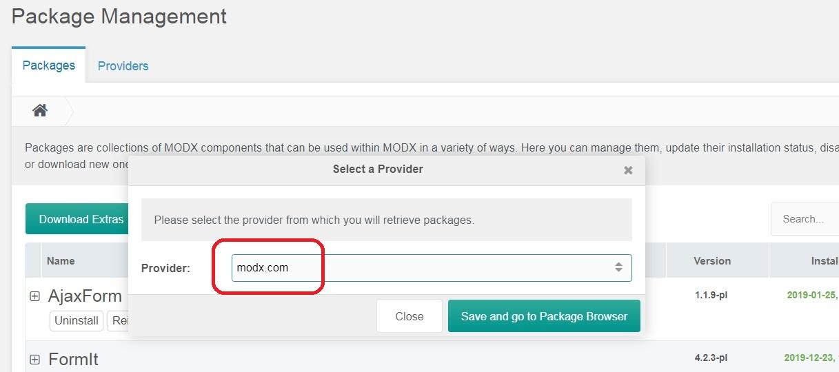 ModX Extras provider