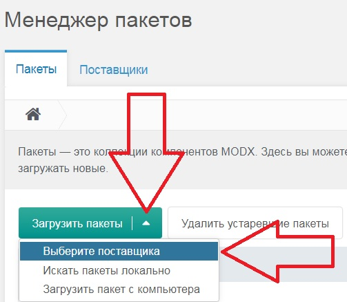 Modx выбор поставщика