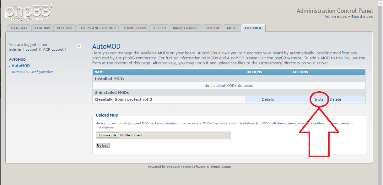 phpBB anti-spam plugin install