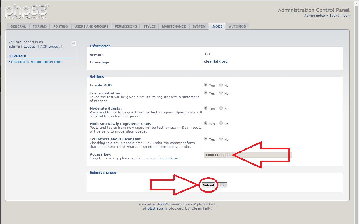 phpBB anti-spam plugin options