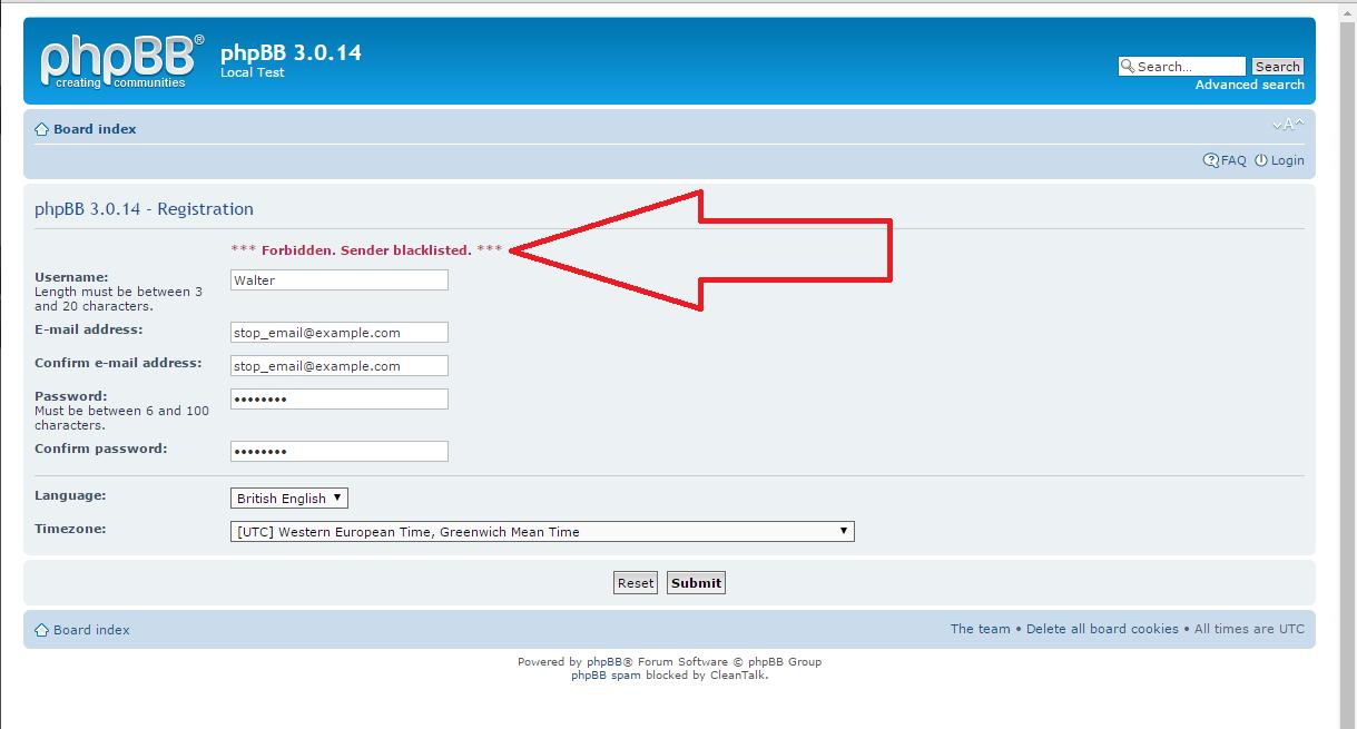 phpBB spam registration block