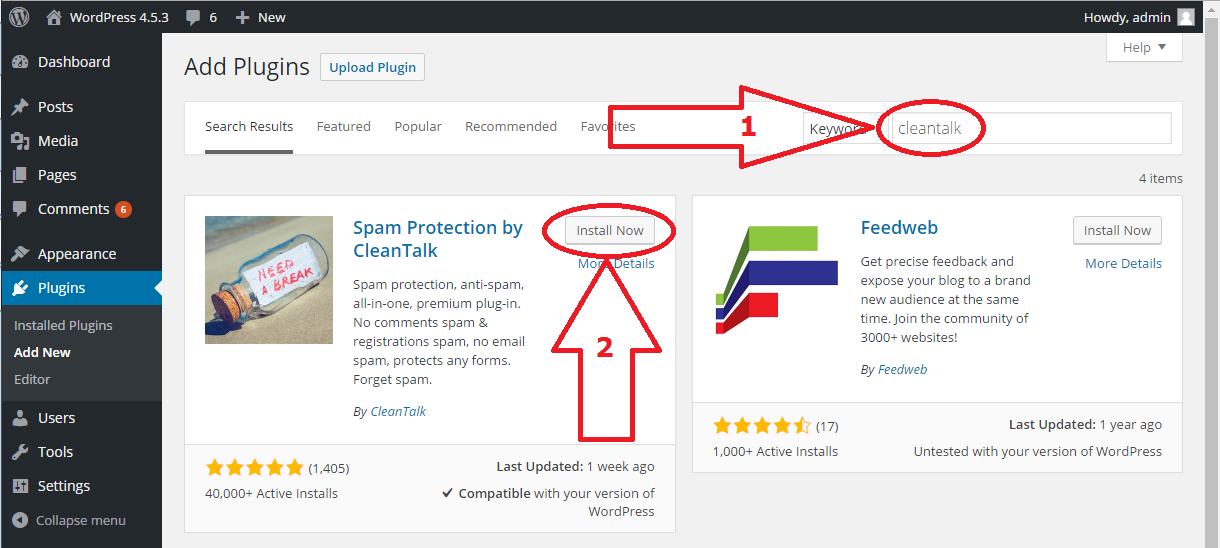 WordPress Anti-Spam plugin install
