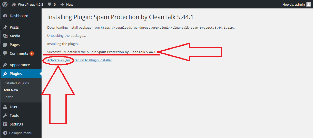 WordPress Anti-Spam plugin activation