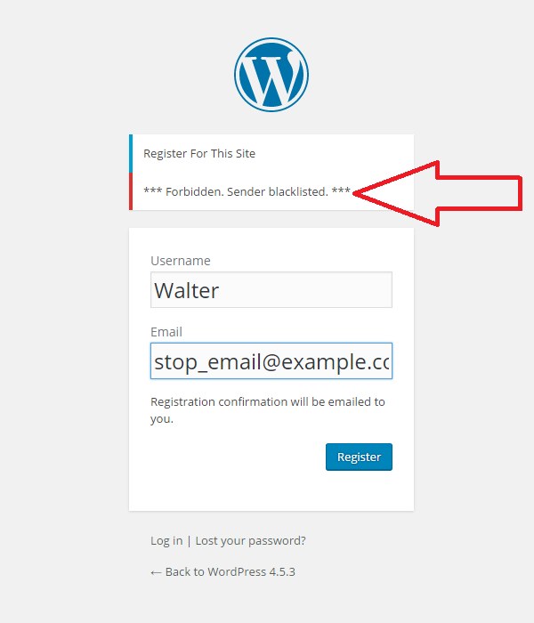 WordPress spam registration block