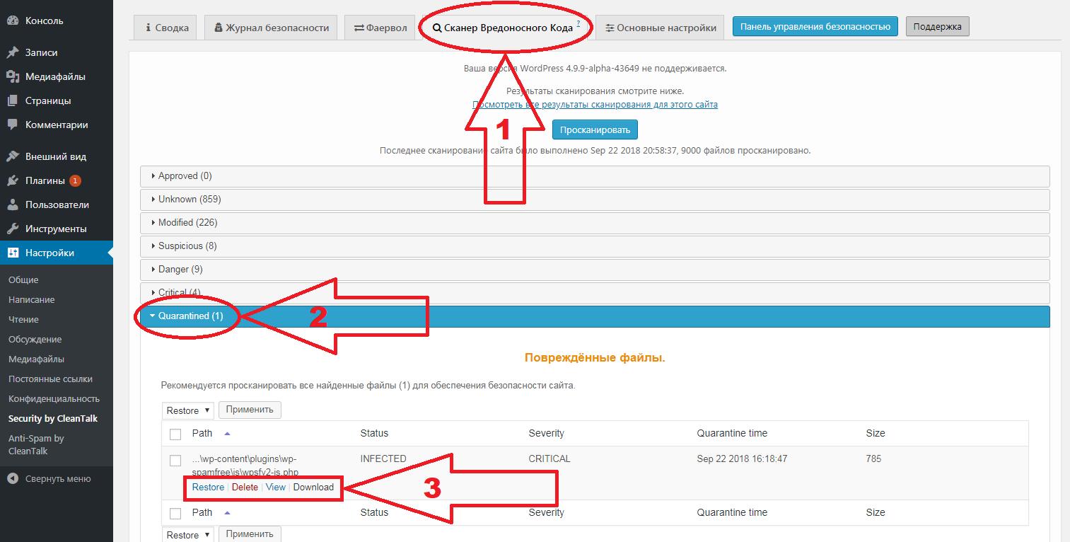 CleanTalk плагин безопасности WordPress сканер вредоносного кода Карантин категория
