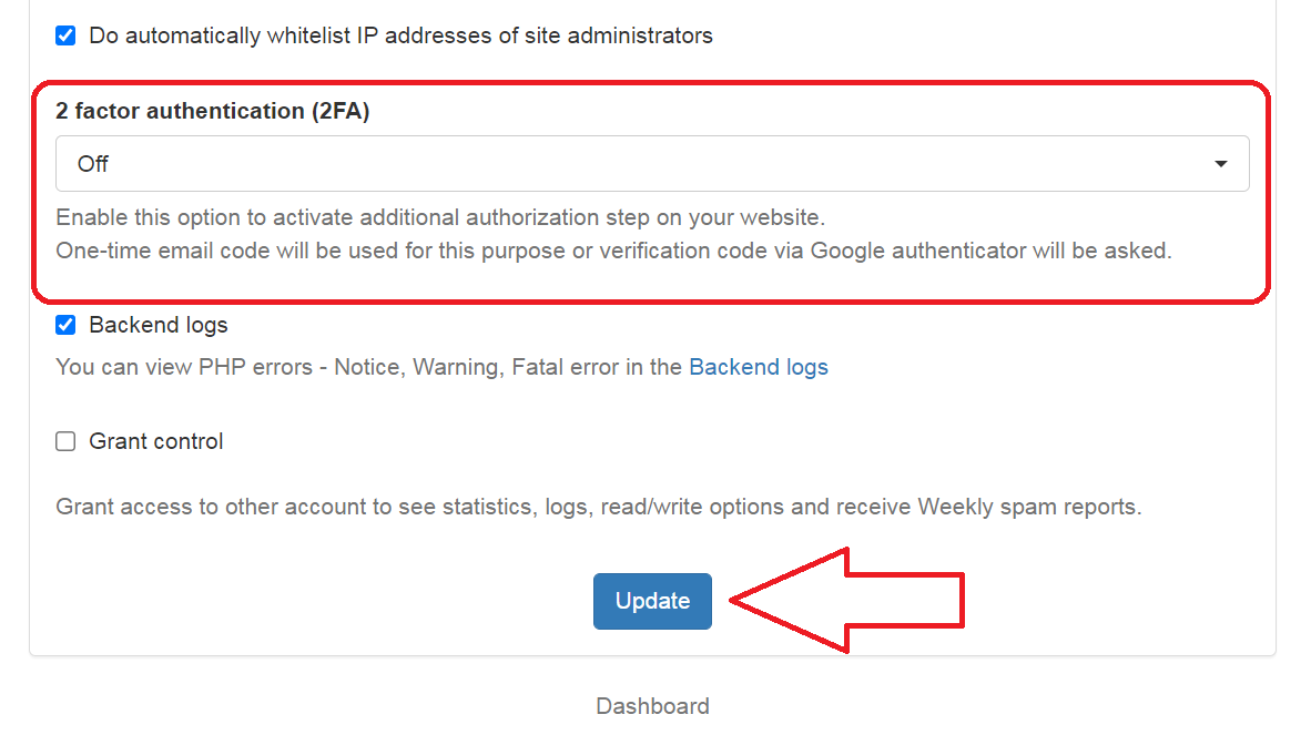 CleanTalk website settings 2-factor option