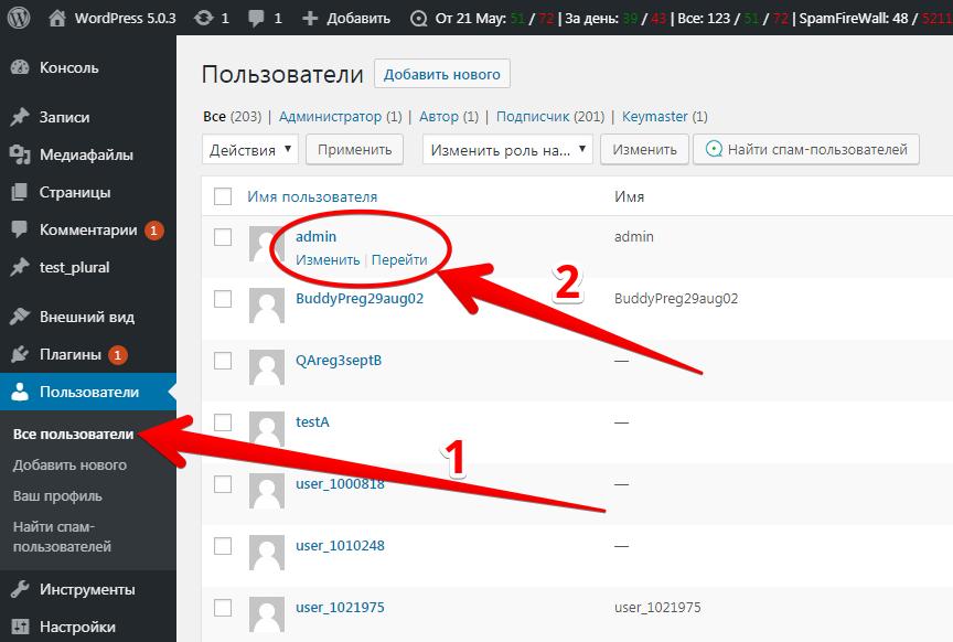WordPress Users admin edit