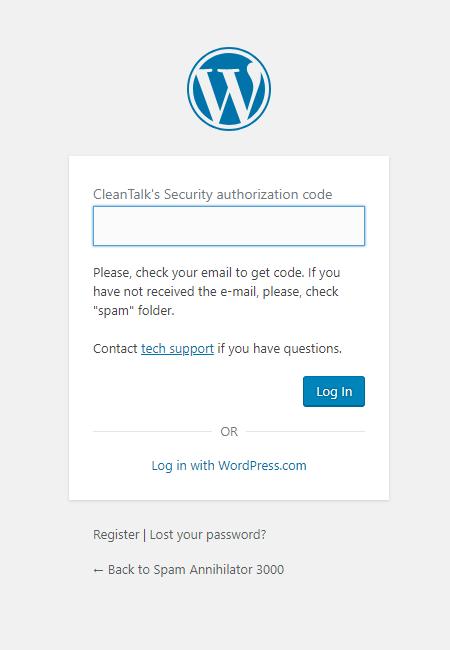 WordPress window two-factor code authorization