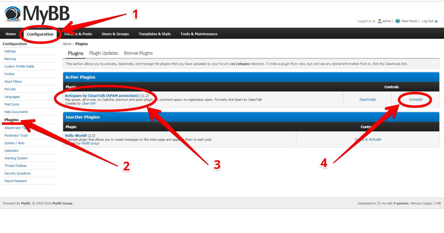 myBB forum backend CleanTalk plugin settings