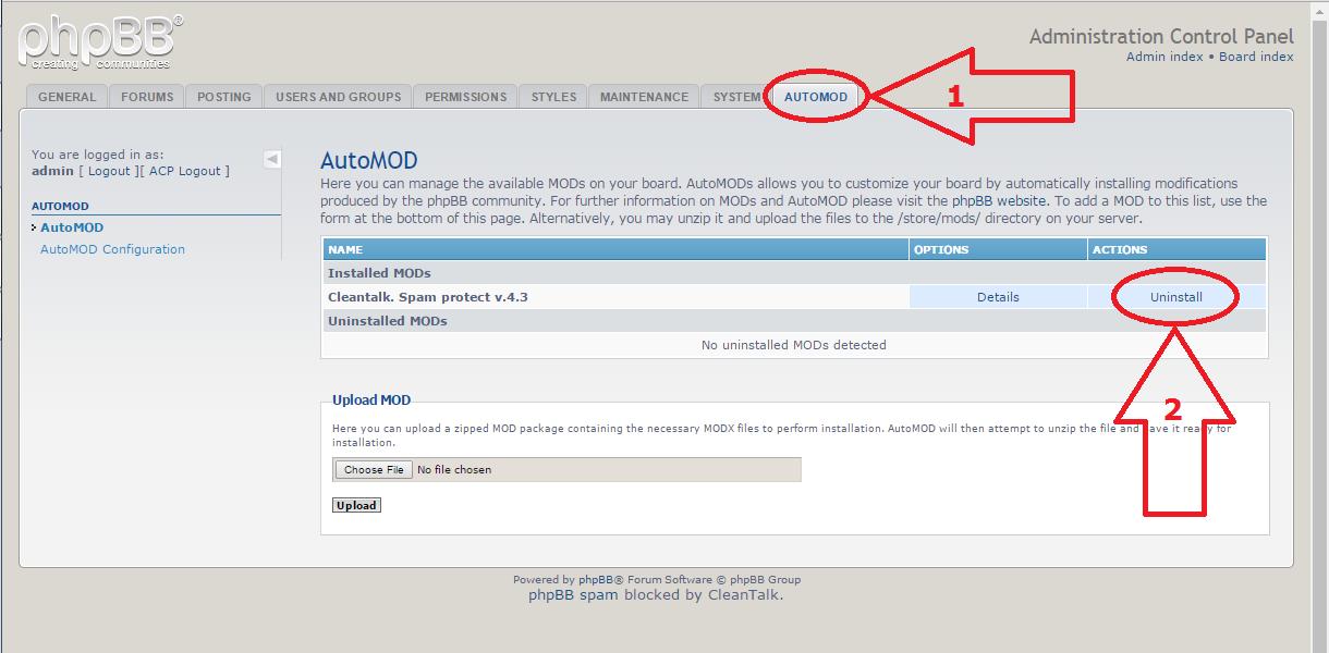 phpBB anti-spam mod uninstall