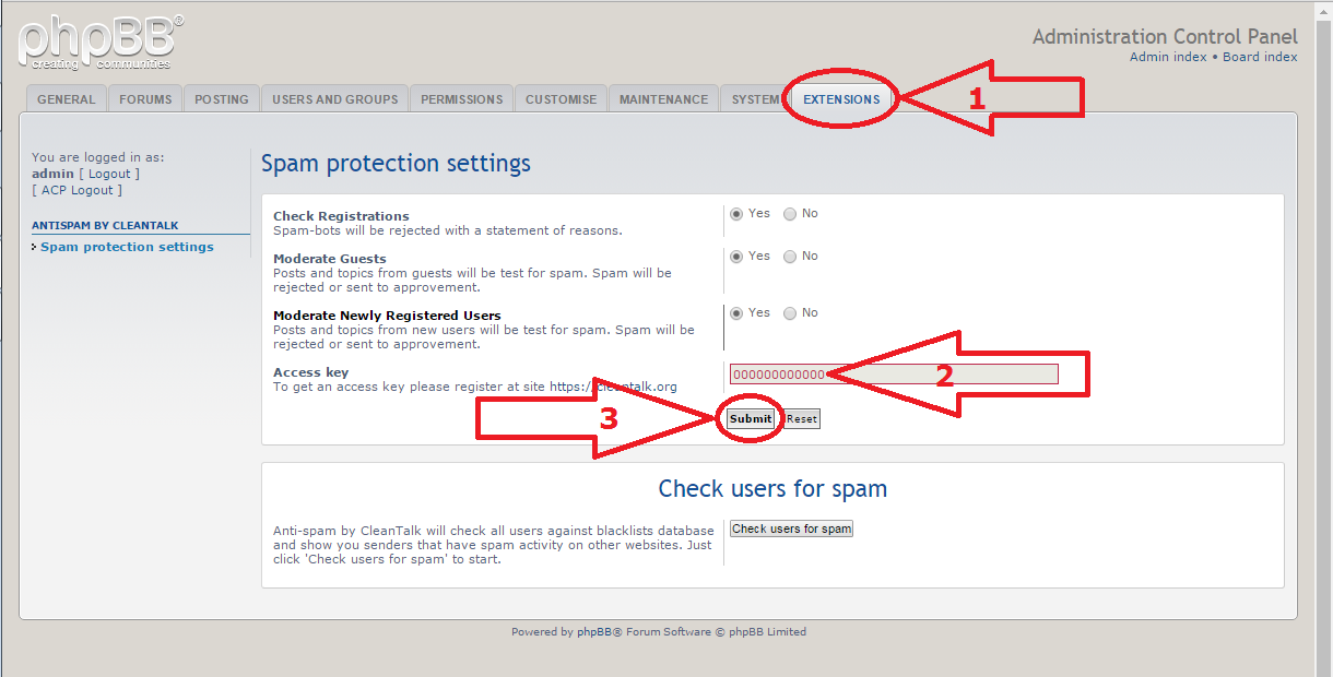 phpBB anti-spam mod options