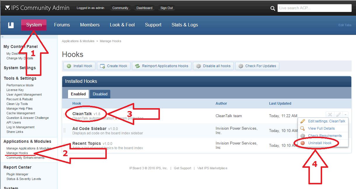 IP.Board uninstall anti-spam hook