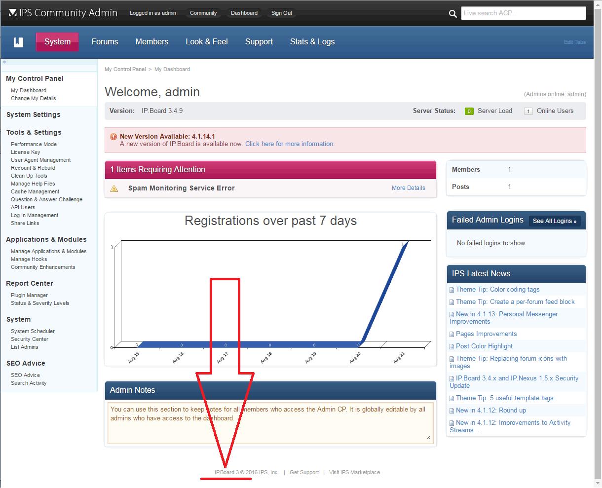 IP.Board admin page