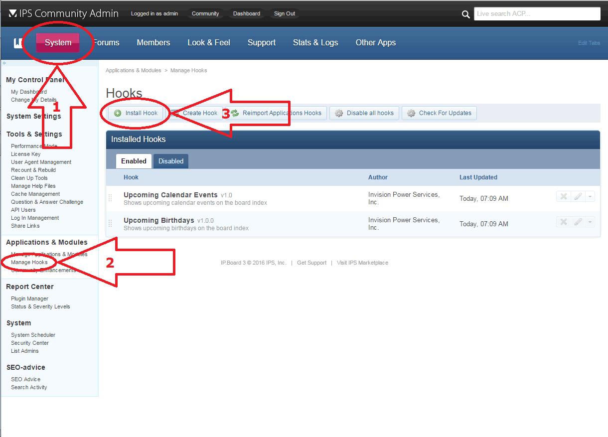 IP.Board manage hooks
