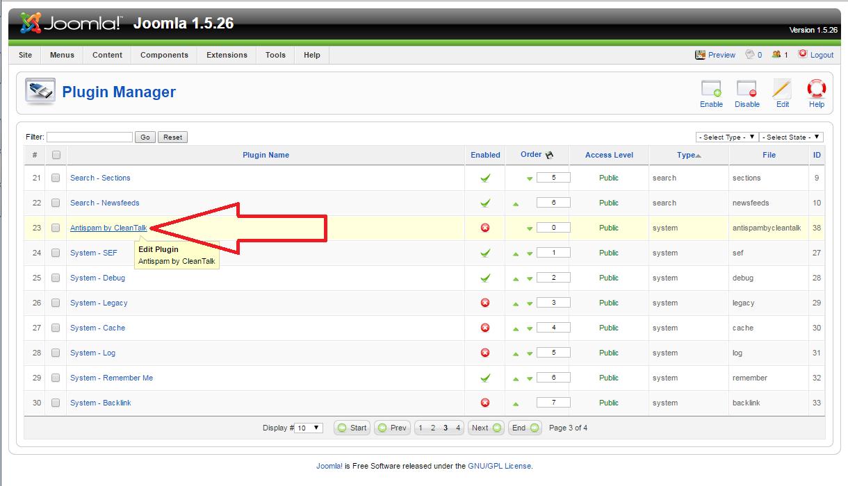 Joomla 1.5 anti-spam plugin configure