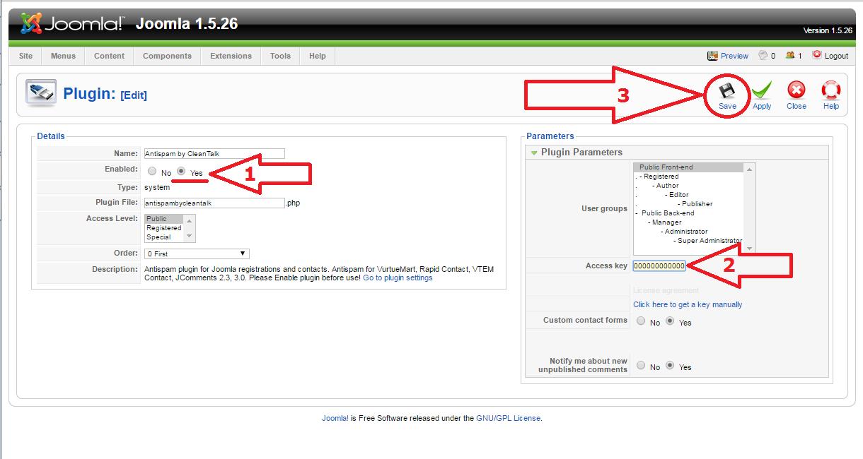 Joomla 1.5 anti-spam plugin options