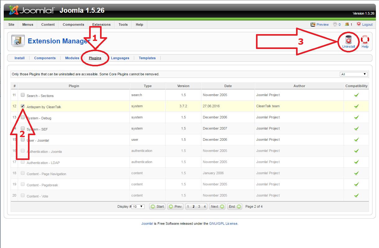 Joomla 1.5 anti-spam plugin uninstall