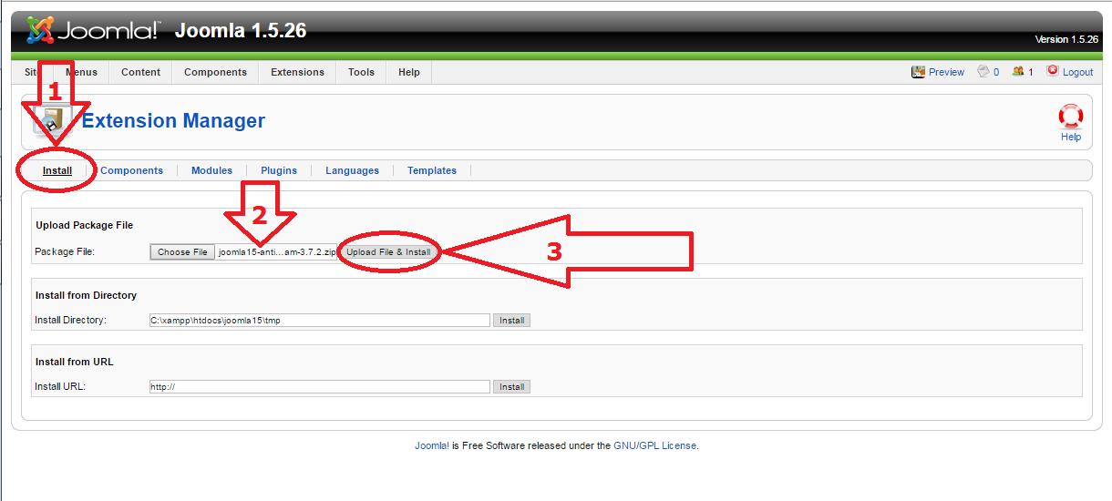Joomla 1.5 anti-spam plugin install