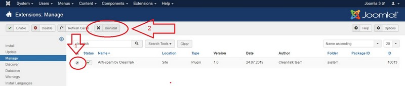 Joomla 3 anti-spam plugin uninstall