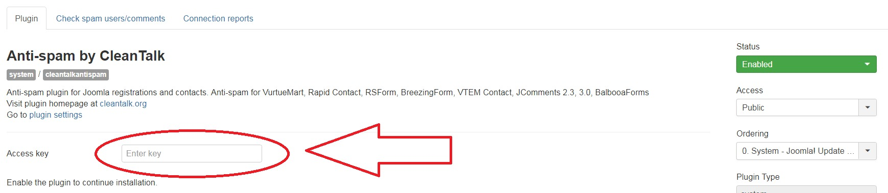 Joomla 3 anti-spam plugin options
