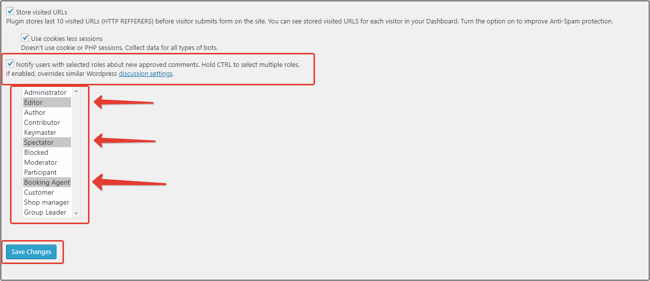 e-mail notification settings