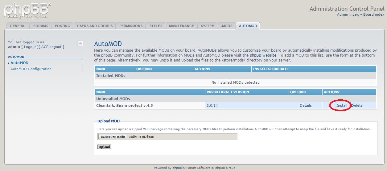 phpBB anti-spam mod reinstall