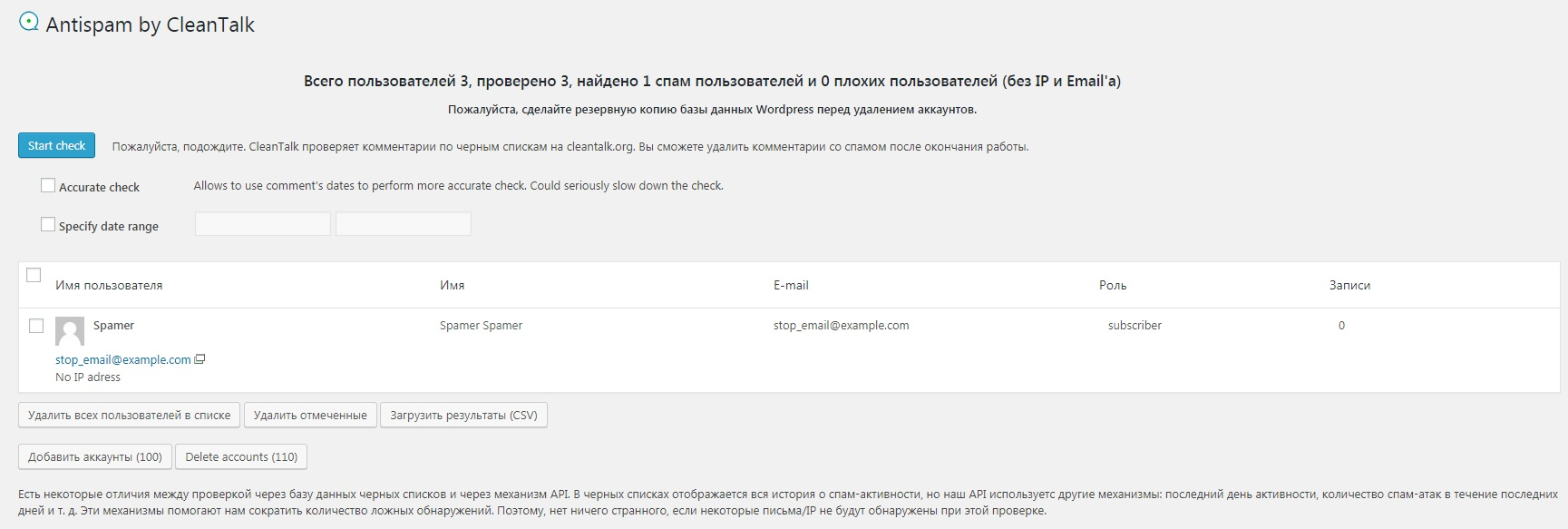 Проверка пользователей на спам на WordPress