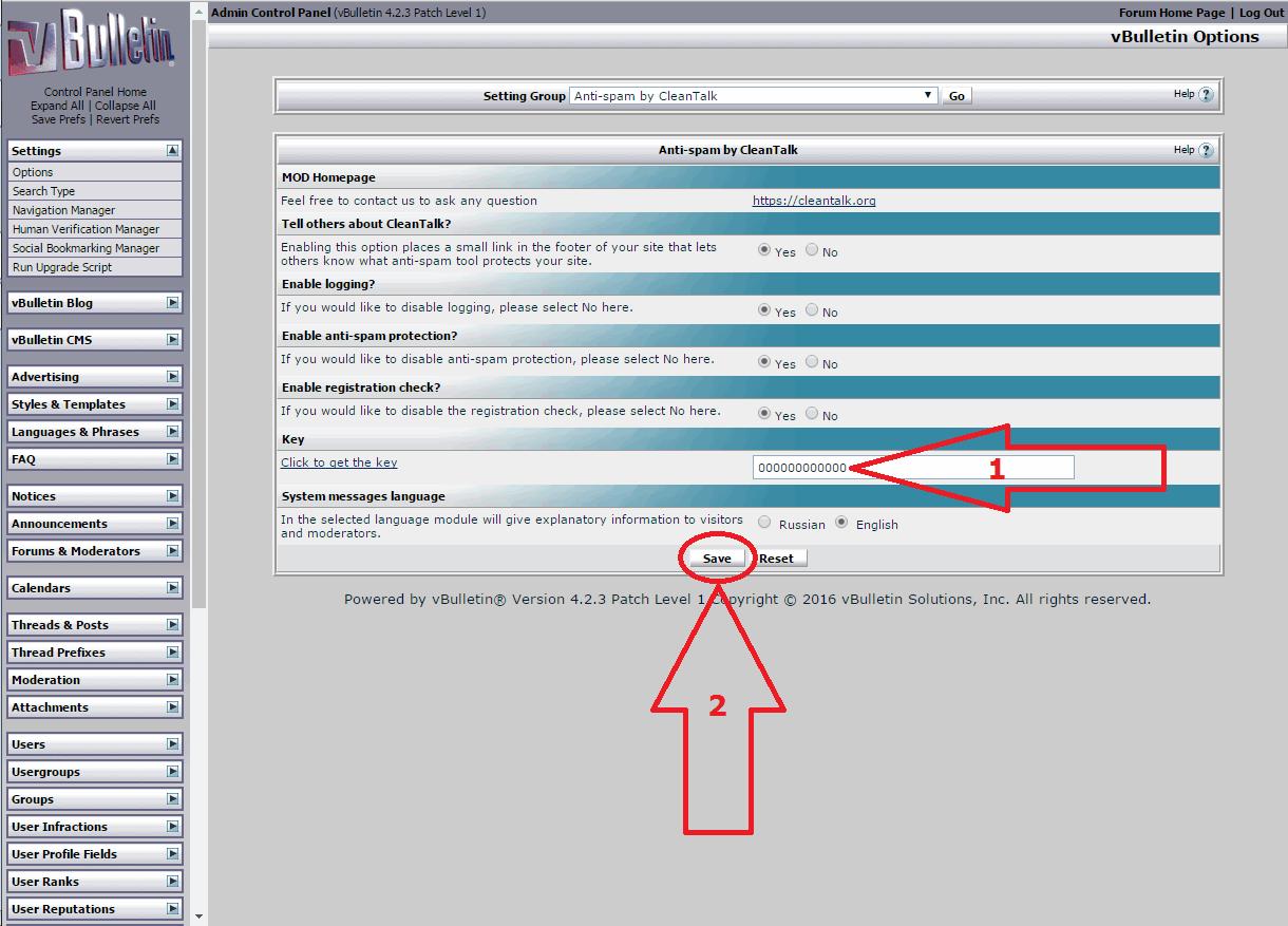 VBuletin 4 anti-spam mod options
