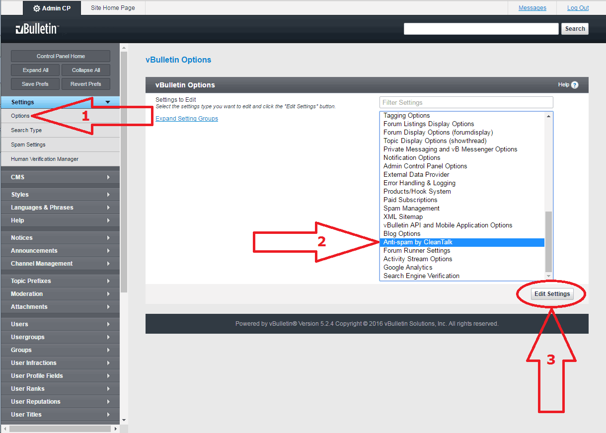 VBuletin 5 anti-spam mod configure