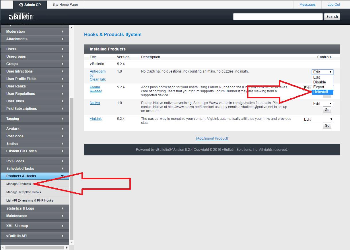 VBuletin 5 anti-spam mod uninstall