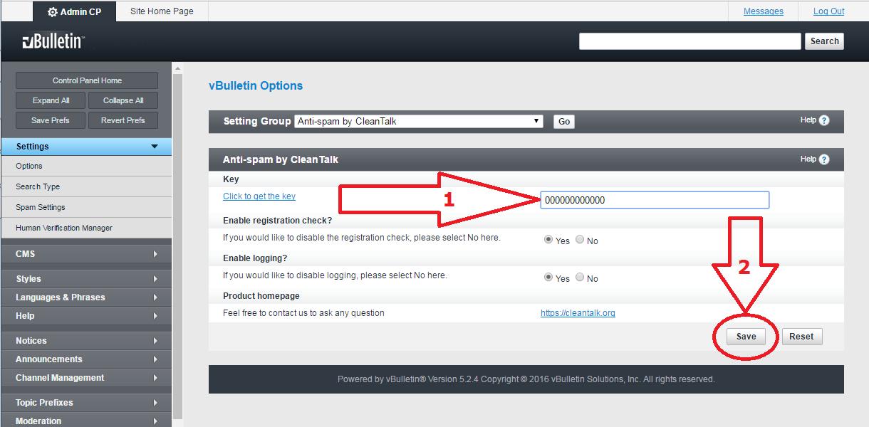 VBuletin 5 anti-spam mod options