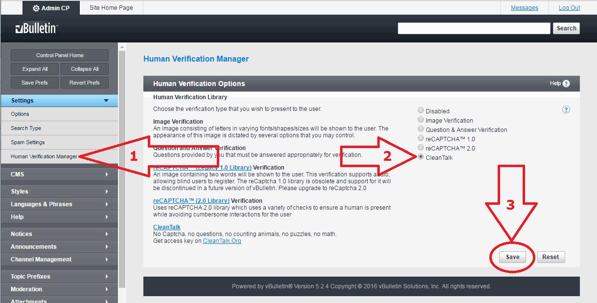 VBuletin 5 settings for anti-spam