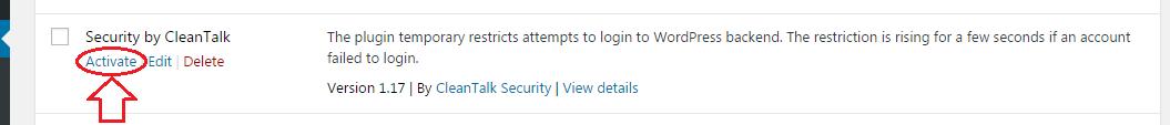 WordPress Security plugin activate