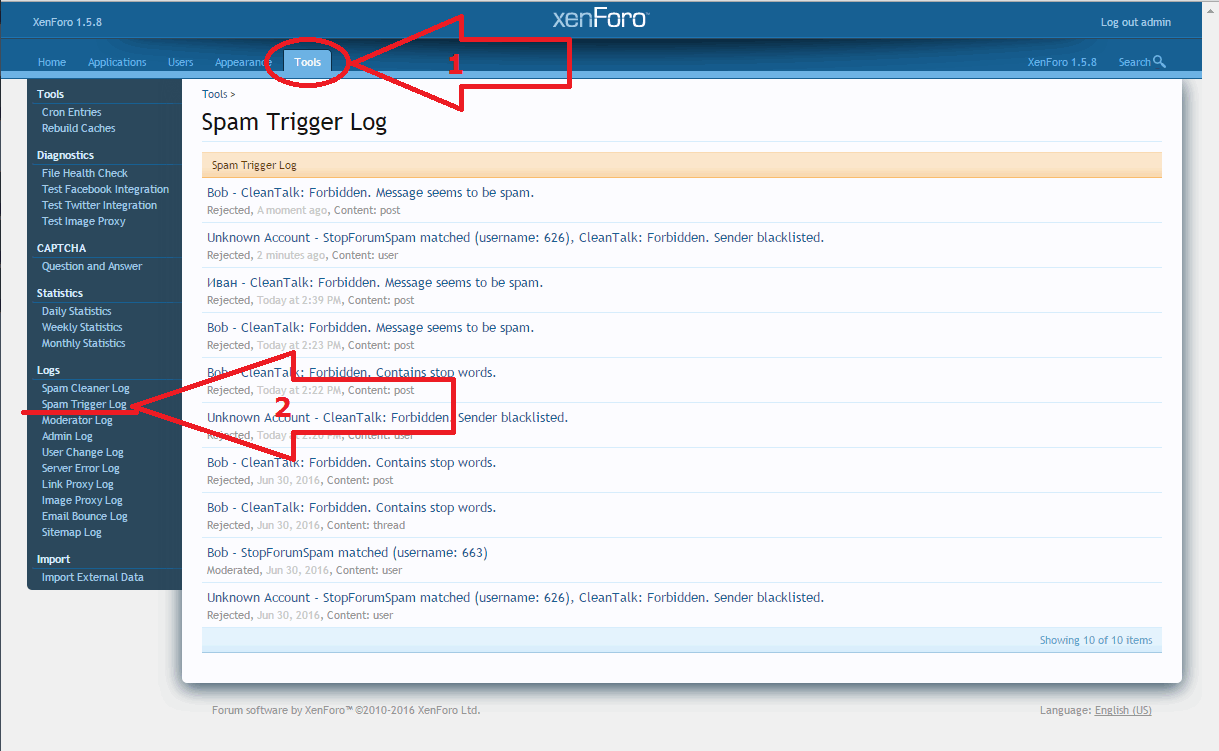 Xenforo spam trigger log