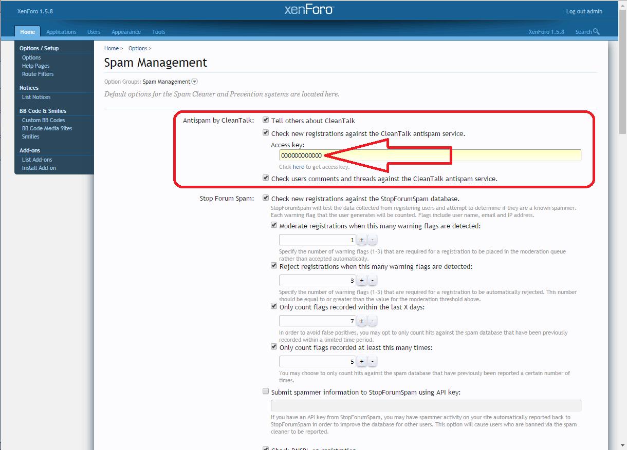 Xenforo anti-spam addon options