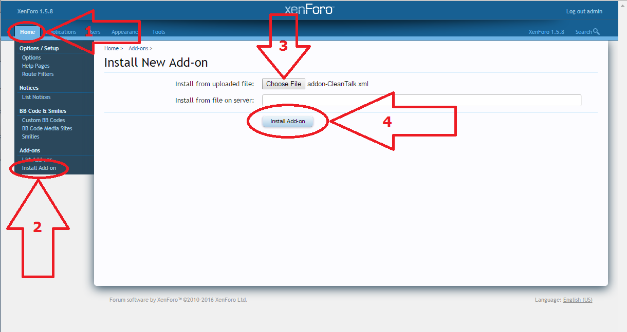 Xenforo anti-spam addon install