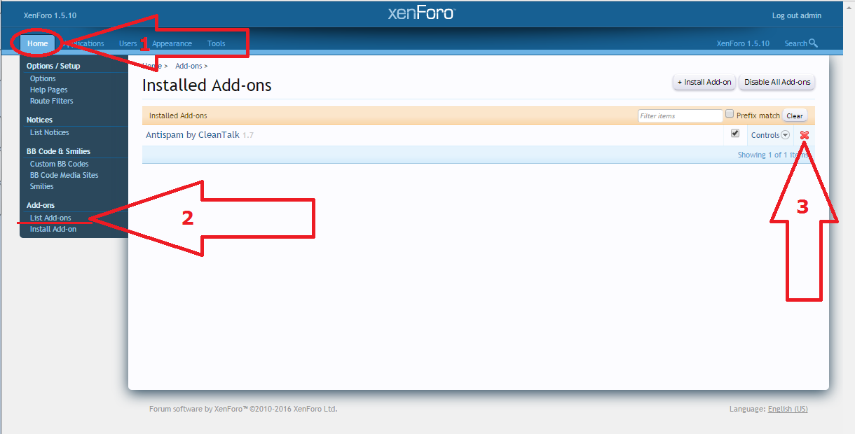 Xenforo anti-spam plugin uninstall