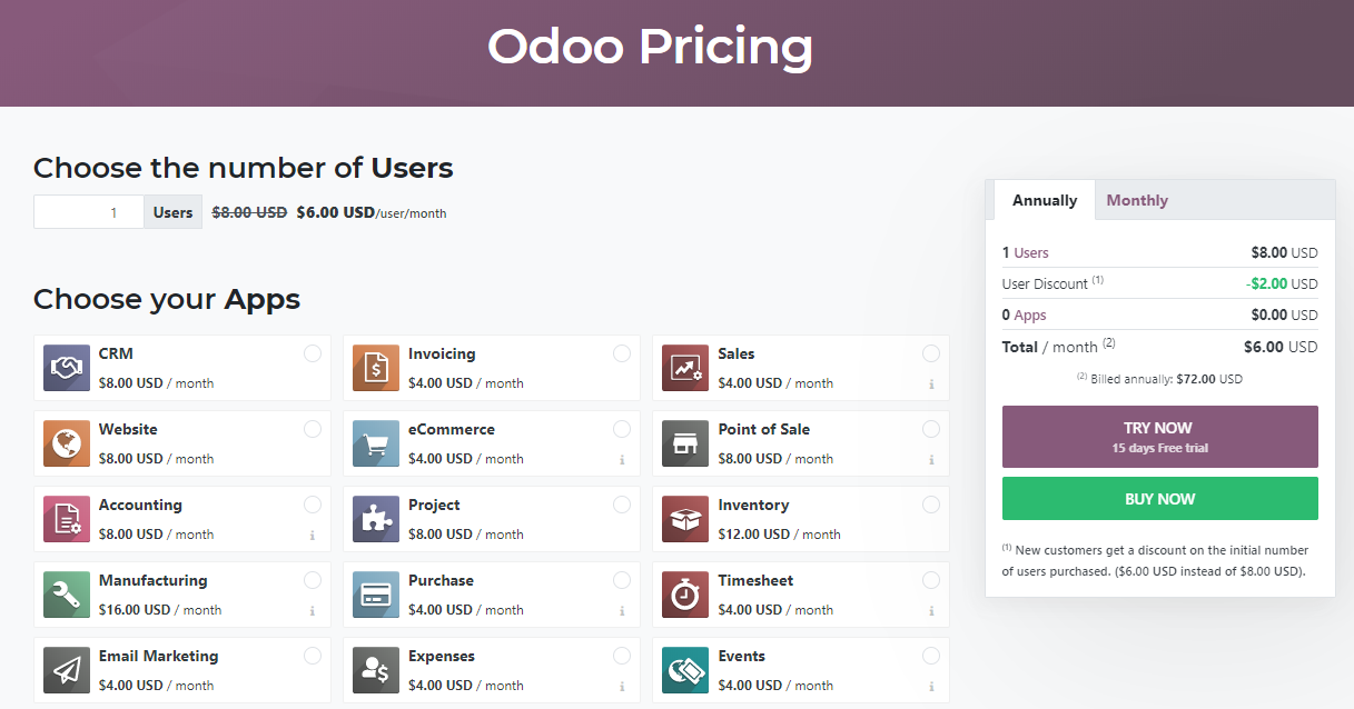 Odoo is an open source alternative to QuickBooks. Here's how the platform is priced.