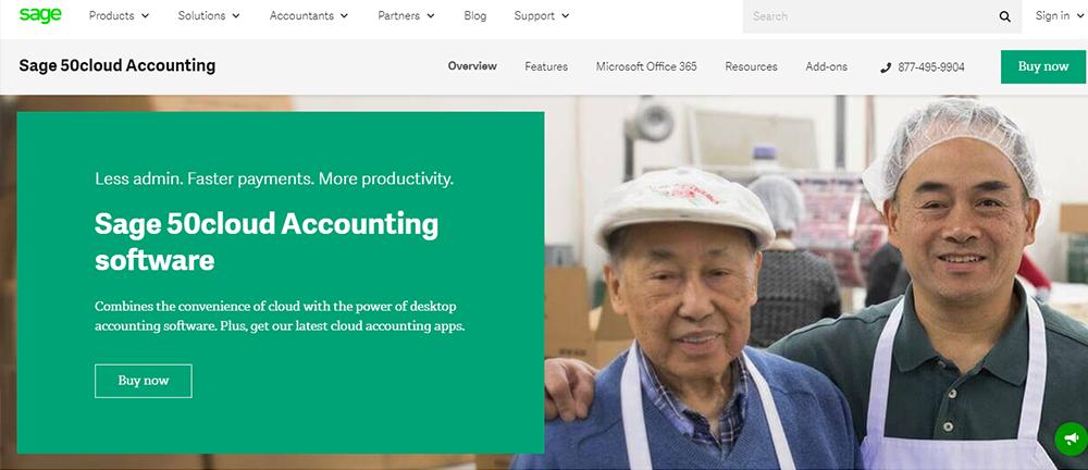A screenshot of Sage 50cloud Accounting software, a QuickBooks alternative.
